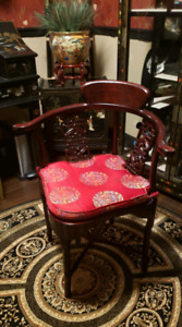Chinese /Asian Rosewood corner ARM CHAIR  cushion carved Boudoir