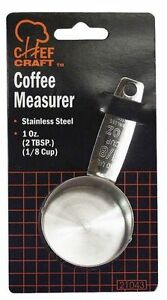 (1) Chef Craft Stainless Steel Silver Coffee Scoop/ Measure Spoon 1/8