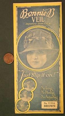 1919 New York City Flapper Girl Bonnie-B Veil in original sales pouch-Brown # 2!