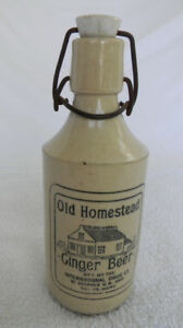 ANTIQUE OLD HOMESTEAD GINGER BEER BOTTLE STONEWARE  ORIGINAL CAP