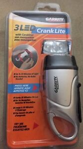 New Garrity Crank Lite 3 LED Hand Crank Flashlight