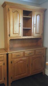Custom Made Solid Oak Buffet & Hutch and Sideboard