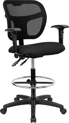 Black Mesh Ergonomic Drafting Stool With Arms Footring