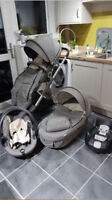 Stokke Crusi Black Melange Pram and  Car Seat
