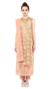 Ritu Kumar Peach Embroidered Kurta With Stole & Trousers- Indian