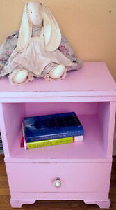 Painted & Distressed Pink Bedside Table with Crystal Knob