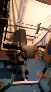 Cheap full Olympic bench press! And weights great deal
