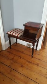 Vintage / Antique Telephone Table with Seat