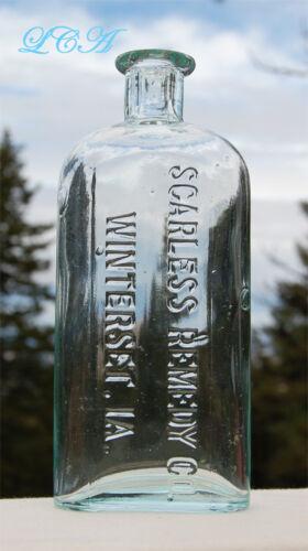Big SPARKLING CLEAN aqua antique VETERINARY BOTTLE John Wayne hometown WINTERSET