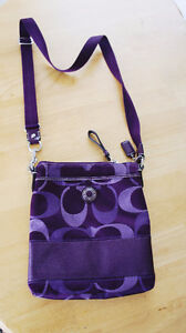 New Coach Purple Canvas Crossbody Purple Purse Bag
