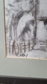 Hand Signed Reggie Kray Painting (charcoal art) Prison documentation signed and stamped