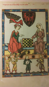 4 German Vintage Lithograph hand-Touch up w Gold,Knights,King