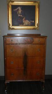 Beautiful Antique HighBoy Dresser+Decorative Handles