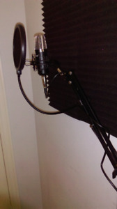 Studio microphone with phantom power supply and stan,