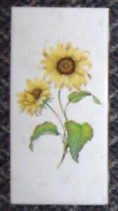 2 Floral Yellow Sunflower Rectangle Ceramic SPAIN Pottery TILES