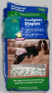 Dog Designer Diapers Large 10 Count 35-55 LB, Waist 20-27 IN