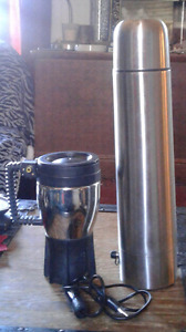 Travellers Stainless steel 12volt  thermos  & coffee mug (new)