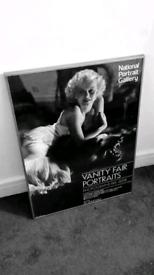 Framed pictures ; Marilyn Monroe, London Olympics, London stadium.