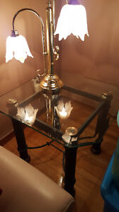 REDUCED 2 TIFFANY LILY PAD END TABLE LAMPS & MATCHING FLOOR LAMP