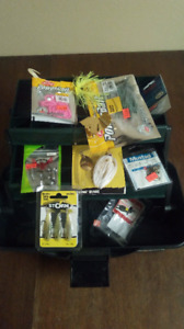 Small tackle bo powerbait, spinning lures, weights and hooks.