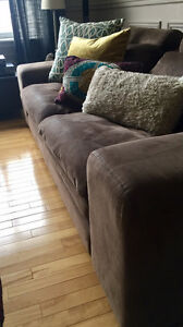 Set of USED Modern and Elegant Suede Sofa and Loveseat