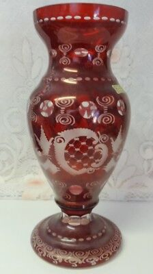 Vintage Bohemian Ruby Red Cut to Clear Glass Deer Stag Blackforest Egermann Vase