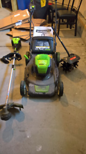Greenworks Pro Cordless Lawnmower + Trimmer