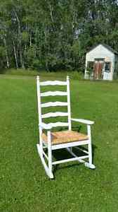 Wooden Rocking Chair with Rattan Seat
