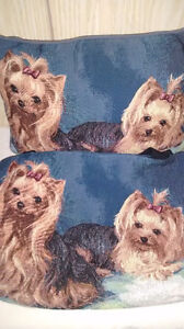 Yorkie pillow and tote bag