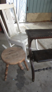 Lot of Three Solid Wood Antique Pieces