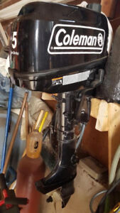 Coleman 5HP Outboard Motor with Tank and Fuel Line $700 OBO