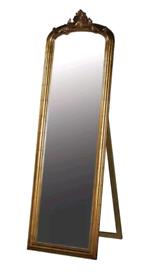 French antique gold ornate freestanding full length mirror
