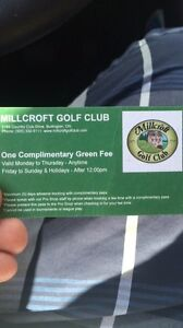 Millcroft Golf Course 2 rounds and a cart for 100$