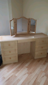 Dressing table and matching chest of drawers