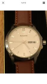 Men's Wrist Watch ACCURIST with calendar & new leather strap
