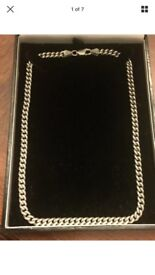 Solid silver hallmarked 925 40 cm long Men's Curb chain 30.5 grams