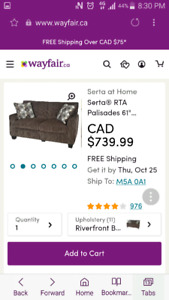 Serta brand new sofa in box