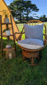 Mid-century rattan lounge chair