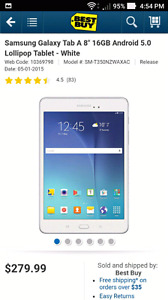 """White Galaxy Tab A 8"""" 16GB Android 6.0 Wi-Fi Tablet"""