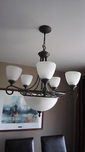 Chandelier - 5 lamps plus 3 in centre shade