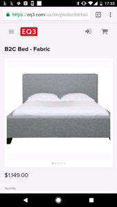 Eq3 barely used double bed frame and headboard, slats included