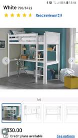 Argos Home Brooklyn High Sleeper Bed, Desk & Shelves