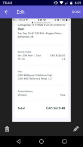 2 Cold play tickets for Edmonton