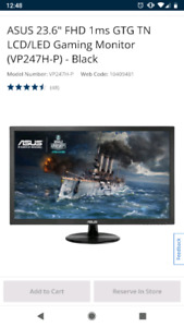 "ASUS 23.6"" FHD 1ms GTG TN LCD/LED Gaming Monitor"