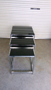GLASS CHROME Nest Of Tables Exc. Cond $ 135
