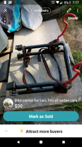 Bike carrier for cars, fits all sedan cars