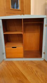 Vintage Small wooden wardrobe cabinet toy bear barbie cupboard