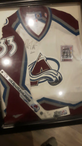 Patrick Roy autographed/ signed jersey and mini stick