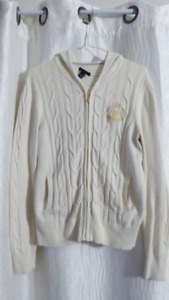 Tommy Hilfiger Women's Cotton Cable Knit Hooded Sweater Cream