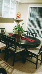 Oval Dining Table Set, Distressed Finish obo